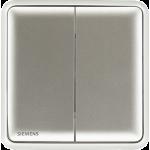 Siemens 西門子 5TA01233PC02 10AX 雙位雙控開關掣 (銀)