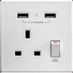 M2K AP105AL-W 2.1A 單USB充電面板 (牆紙紋面板) (純白色)