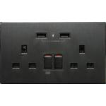 M2K AP202AL-B 2.1A 雙USB充電面板 (牆紙紋系列) (黑色)