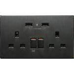 M2K AP202AL4-B 4.2A 雙USB充電面板 (牆紙紋系列) (黑色)