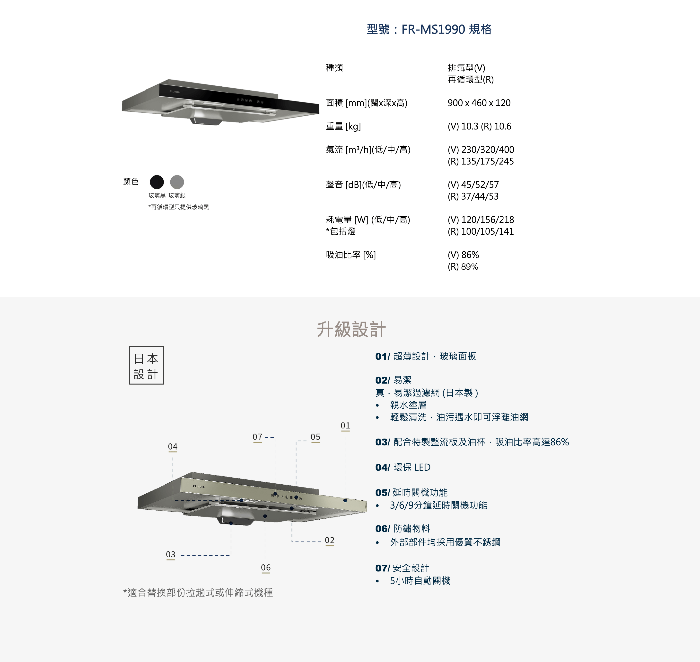 Fujioh 富士皇 FR-MS1990V-GBK 90厘米 抽油煙機 (玻璃黑)